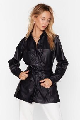 Nasty Gal Womens Faux Leather Look Back Belted Longline Jacket - Black