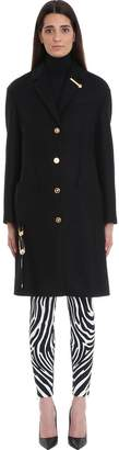 Versace Black Wool Single Breasted Coat