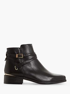 Dune Peper Leather Low Block Heel Ankle Boots
