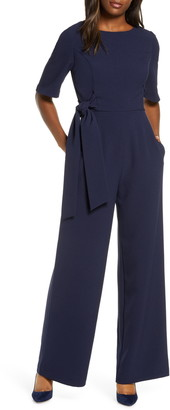 Julia Jordan Elbow Sleeve Tie Waist Jumpsuit