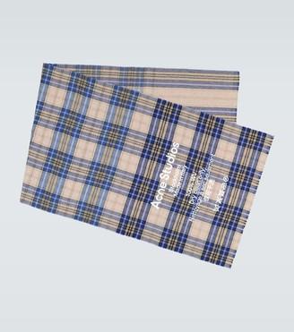 Acne Studios Cassiar tartan check logo scarf