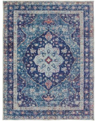 World Menagerie Southmont Oriental Flatweave Blue Area Rug Rug Size: Rectangle 4' x 6'