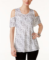 Alfani Petite Lace Cold-Shoulder Top, Only at Macy's