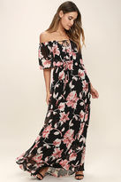 LuLu*s Infinite Love Ivory Floral Print Off-the-Shoulder Maxi Dress