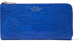Smythson Mara Croc-effect Glossed-leather Wallet - Light blue