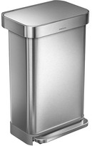 Simplehuman Rectangular Pedal Bin with Liner Pocket - Brushed Steel - 45L