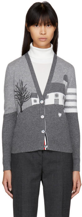 Thom Browne Grey Cashmere Barn House Classic V-Neck Cardigan