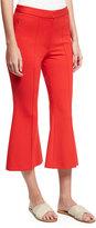 Tibi Tailored Ponte Flare-Leg Cropped Pants, Red