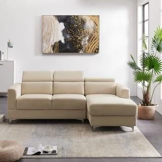 "Ivy Bronx Kewstoke 84.6"" Wide Velvet Right Hand Facing Sofa & Chaise Fabric: Beige"