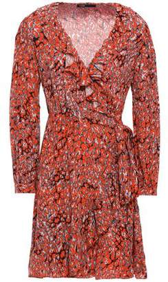 Maje Ruffle-trimmed Leopard-print Crepe Mini Wrap Dress