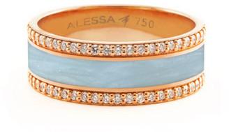Alessa Jewelry Spectrum Painted 18k Rose Gold Ring w/ Diamond Trim, Light Blue, Size 7.5