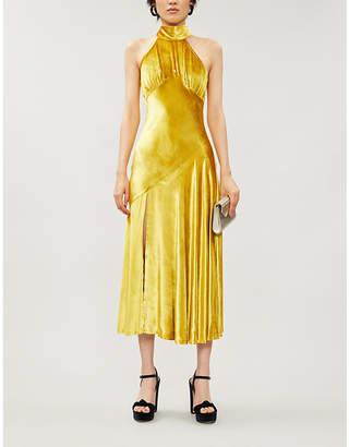 De La Vali Vivienne halterneck silk-satin midi dress