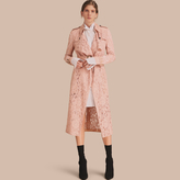 Burberry Macramé Lace Trench Coat , Size: 14, Pink