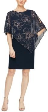 SL Fashions Petite Asymmetrical-Overlay Sheath Dress