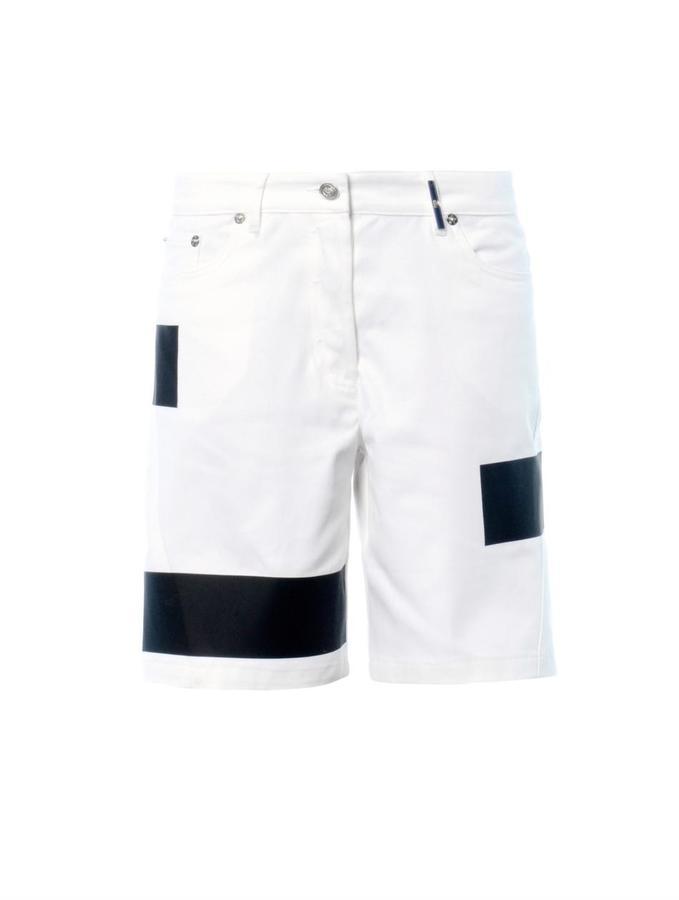 Kenzo Coated-stripe denim shorts