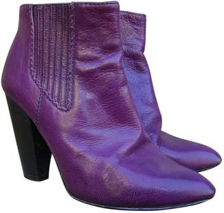 Dolce & Gabbana Purple Leather Ankle boots