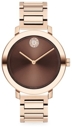 Movado Bold Evolution Champagne Gold Ion-Plated Stainless Steel & Crystal Bracelet Watch