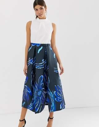 Closet London Closet gold collar full skirt dress-Navy