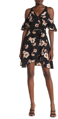 J.o.a. Cold Shoulder Floral Wrap Dress