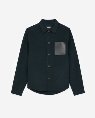 The Kooples Bottle green shirt with leather pocket