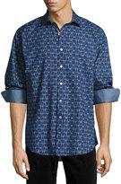 Bugatchi Glasses-Print Cotton Sport Shirt, Sky