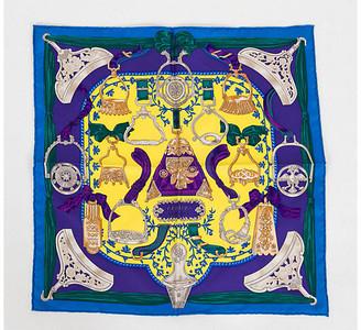 One Kings Lane Vintage Hermes Etriers Blue Yellow Silk Square - Vintage Lux