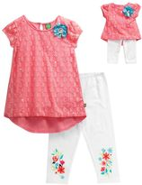 Dollie & Me Girls 4-14 Lace Overlay Mini Dress & Floral Graphic Capri Leggings Set