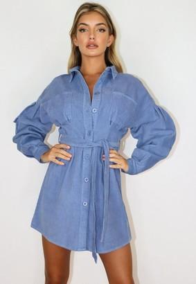 Missguided Blue Cord Cinched Waist Shirt Dress