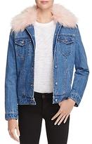 Aqua Faux Fur-Collar Denim Jacket - 100% Exclusive