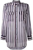 Equipment striped sheer button-down shirt