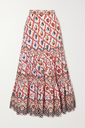 Mary Katrantzou Mary Mare Mary Katrantzou MARY-MARE - Brittany Tiered Printed Cotton-blend Poplin Maxi Skirt - Orange
