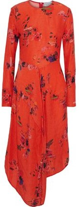 Preen by Thornton Bregazzi Marcello Asymmetric Floral-print Hammered-silk Dress