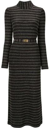 Tory Burch Mock Neck Striped Dress