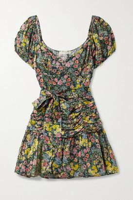 LoveShackFancy Ambrette Belted Ruched Floral-print Sateen Mini Dress - Black