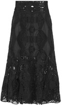 Jonathan Simkhai Fluted Guipure Lace Midi Skirt - Black
