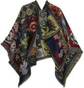 Alexander McQueen Cross stitch tapestry wool and silk cape
