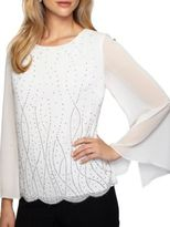 Alex Evenings Long Illusion Sleeve Blouse