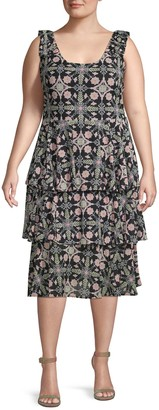 Rachel Roy Plus Tiered Sleeveless Midi Dress