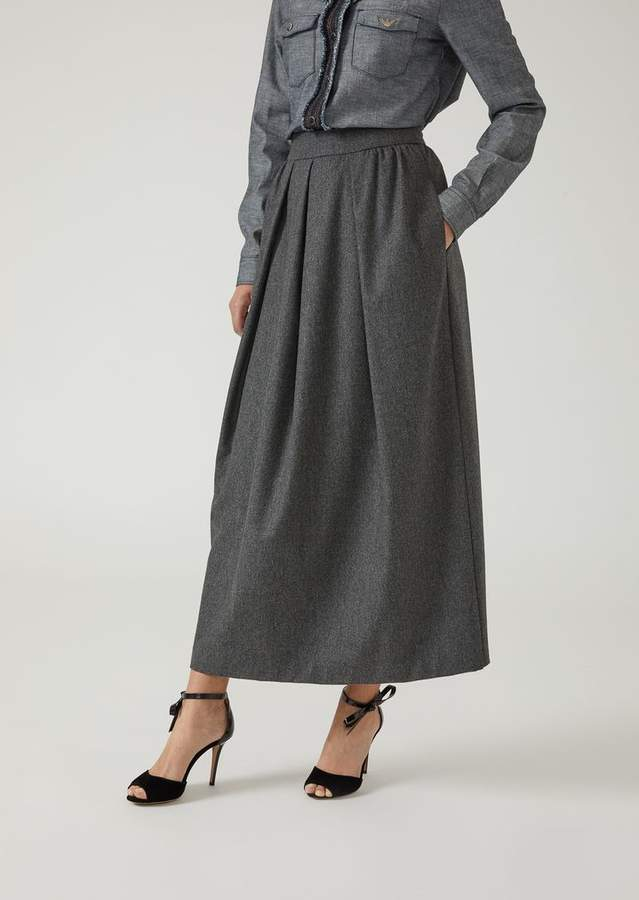 Emporio Armani Maxi Skirt In Flannel With Light Pleats