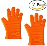 Igoolee 2 Pcs Silicone Gloves,Heat Resistant Oven Gloves, Microwave Mitts & BBQ Grill Gloves, Waterproof Non-slip Food Grade for Home, Kitchen, Cooking and Baking (Orange)