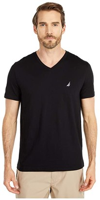 Nautica Short Sleeve V-Neck Tee (Black) Men's T Shirt