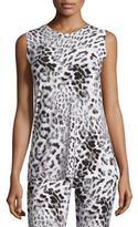 Norma Kamali Sleeveless Swing Top, White Leopard