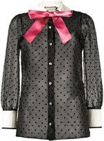 Gucci Taffeta star flock shirt with bow - women - Silk/Polyester - 36