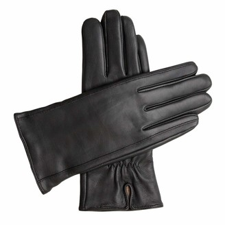 Downholme Classic Leather Cashmere Lined Gloves for Women (Black M)