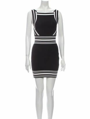 Balmain Striped Mini Dress Black