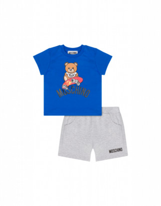 Moschino T-shirt And Shorts Combination With Skateboard Teddy Bear Unisex Blue Size 3a It - (3y Us)