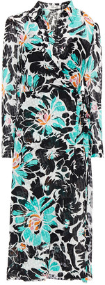 Diane von Furstenberg Fil Coupe Floral-print Crepon Midi Shirt Dress