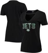 New Era Women's Black New York Jets Gradient Glitter Choker V-Neck T-Shirt