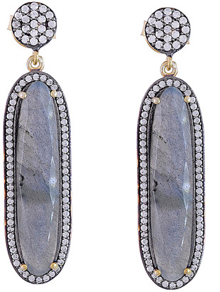 Forever Creations Usa Inc. Forever Creations 18K Gold Over Silver 12.00 Ct. Tw. Labradorite Drop Earrings