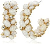 Kenneth Jay Lane Gold and White Opal Cabochons Post Hoop Earring
